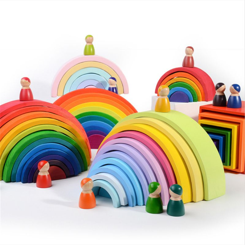 12pcs Extra Large Rainbow Tunnel Stacker Toy in Pastel Color Wooden Toys for kid