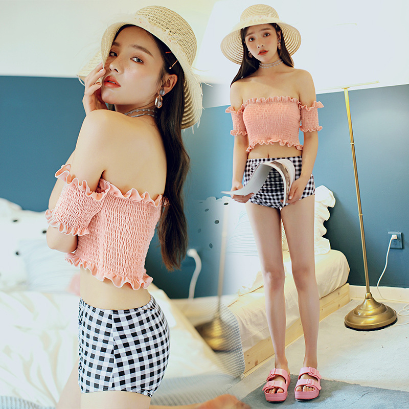 New Style Two-Piece Set Two-piece Swimsuits Women's Graceful Bikini Small Bust Gathering Skirt Conservative Boxer Hot Springs Ba