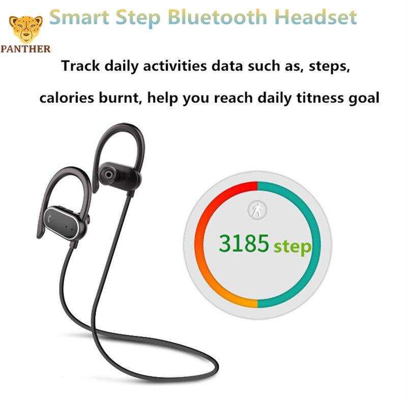 Sports sans fil Bluetooth écouteurs avec intégré 2HD suppression de bruit microphones en cours d'exécution Smart Step casque IPX7 étanche