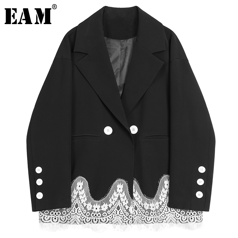 [EAM]  Women Black Lace Split Big Size  Blazer New Lapel Long Sleeve Loose Fit  Jacket Fashion Tide Spring Autumn 2020 1R685