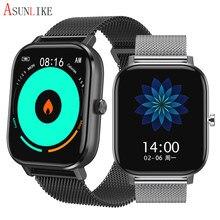 Montre connectée pour iOS et Android, bracelet électronique avec écran couleur de 2021 pouces, résolution de 1.7x420, moniteur de fréquence cardiaque, de pression artérielle et d'activité physique, 485