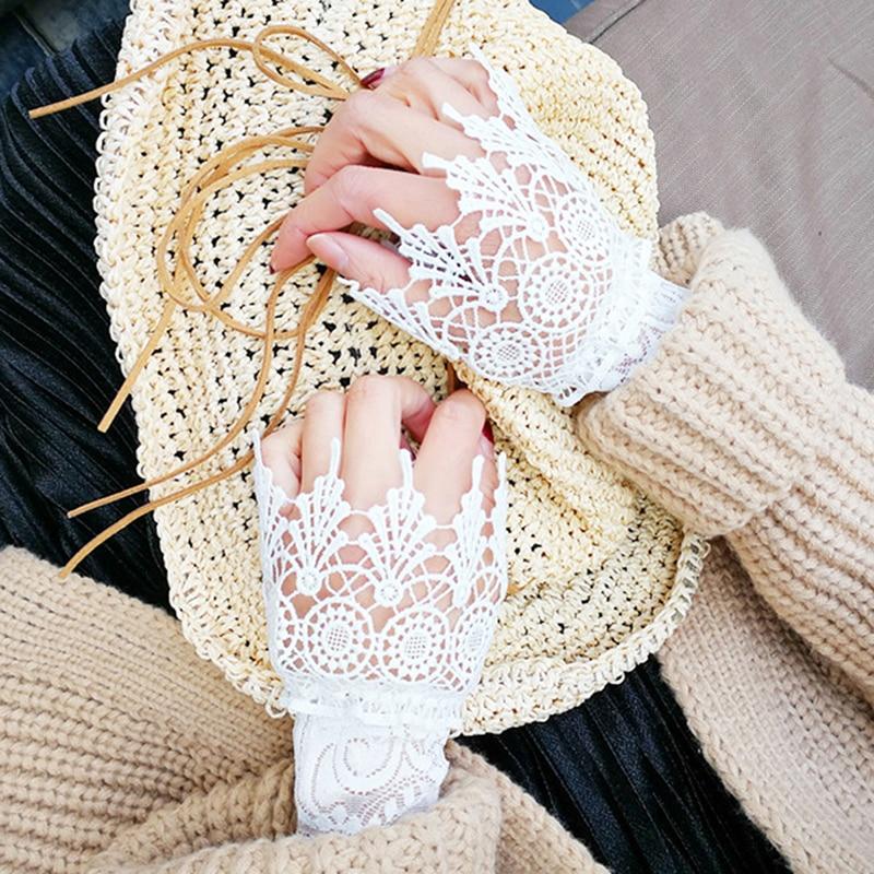 Moda içi boş dantel manşet sahte kollu vahşi kazak dekoratif kollu fırfırlar düğmeli bilek kollu sonbahar kış sahte kollu