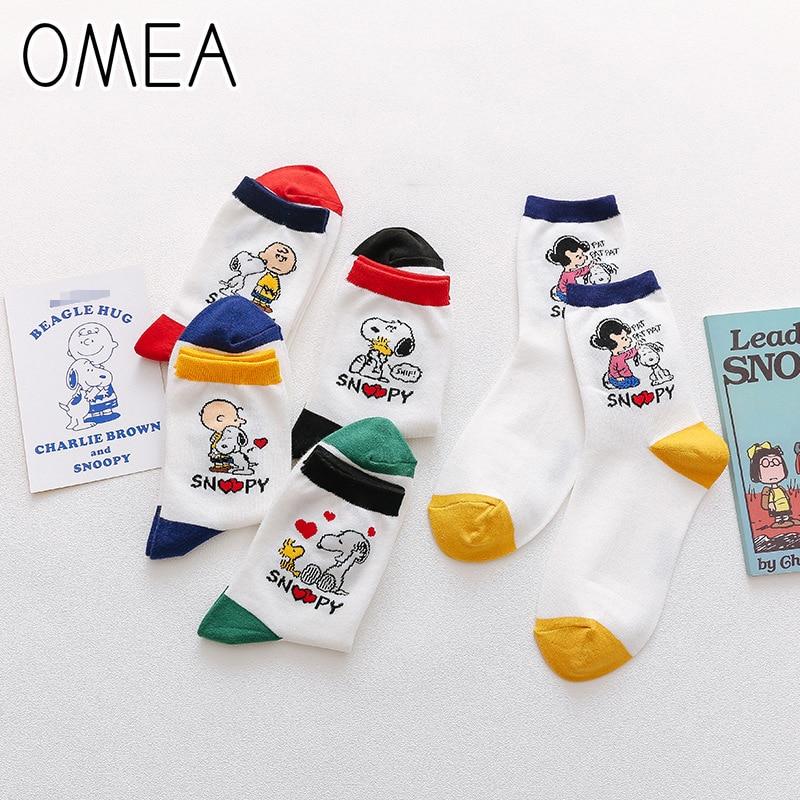 OMEA Cartoon Dog Socks Women Spring Sports Socks Peanuts Breathable Soft Mid-waist Socks Lovely Stylish Cotton Socks Short Socks