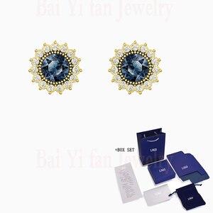 2020 Ретро Мода SWA Новый тысячелетний серьги-гвоздики синие украшенные кристаллами серьги девушки ювелирные изделия Романтический подарок