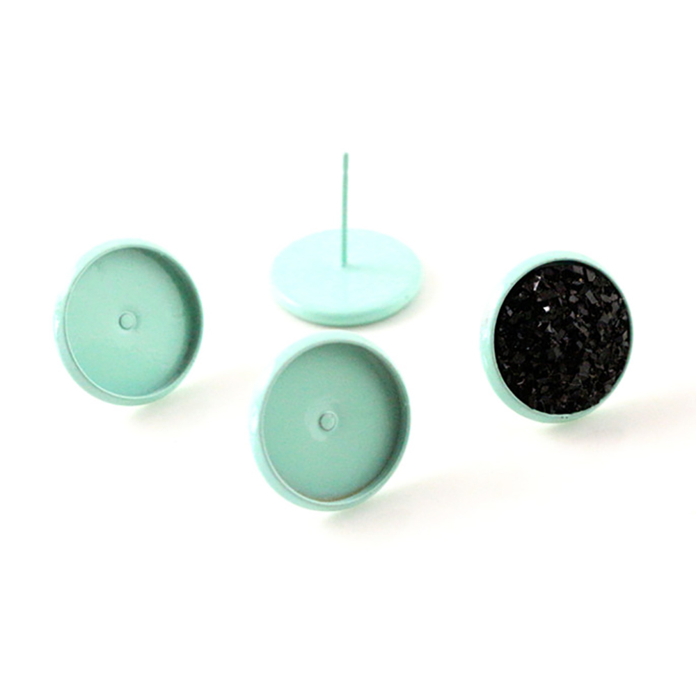 12mm 20pcs New Mint Green Color Plated Earring Studs,Earrings Blank/Base,Fit 12mm Glass Cabochons;Earring Bezels (L4-33)