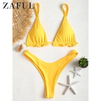 цена на ZAFUL Frilled Thong Bikini Set High Waist Leg Bikini Set Padded Ruffles High Cut Bikini Sexy Swimsuit Women Bathing Swimwear