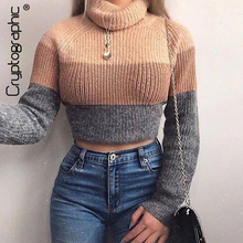 Cryptographic Fashion Women's Turtlenecks Sweaters Striped Long Sleeve Knitted P