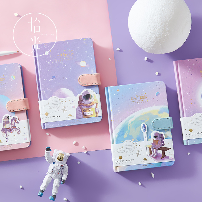 1 Pcs Magnetic Buckle Notebook Painted Inner Page Planet Astronaut Planner Book Girl Diary Notebook School Student Stationary