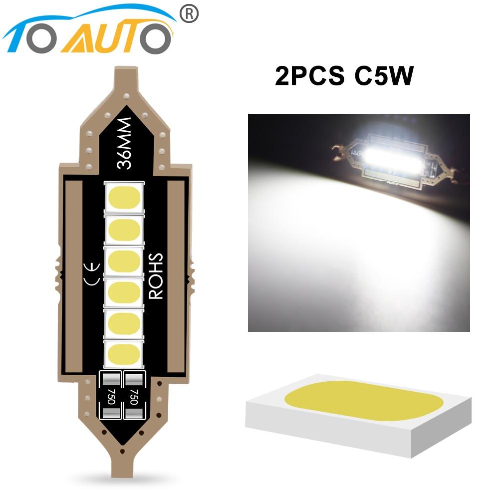 2pcs 2835 Chips Canbus C5W C10W Led Bulb 31mm 36mm 39mm 41mm Car Festoon Light Interior Dome Reading Lights 6000K Pure White