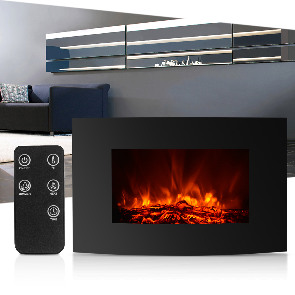1500W Electric Fireplace Large Electric Wall Mount Fireplace 3D Simulation Fire Heater With Remote Control Heat Setting