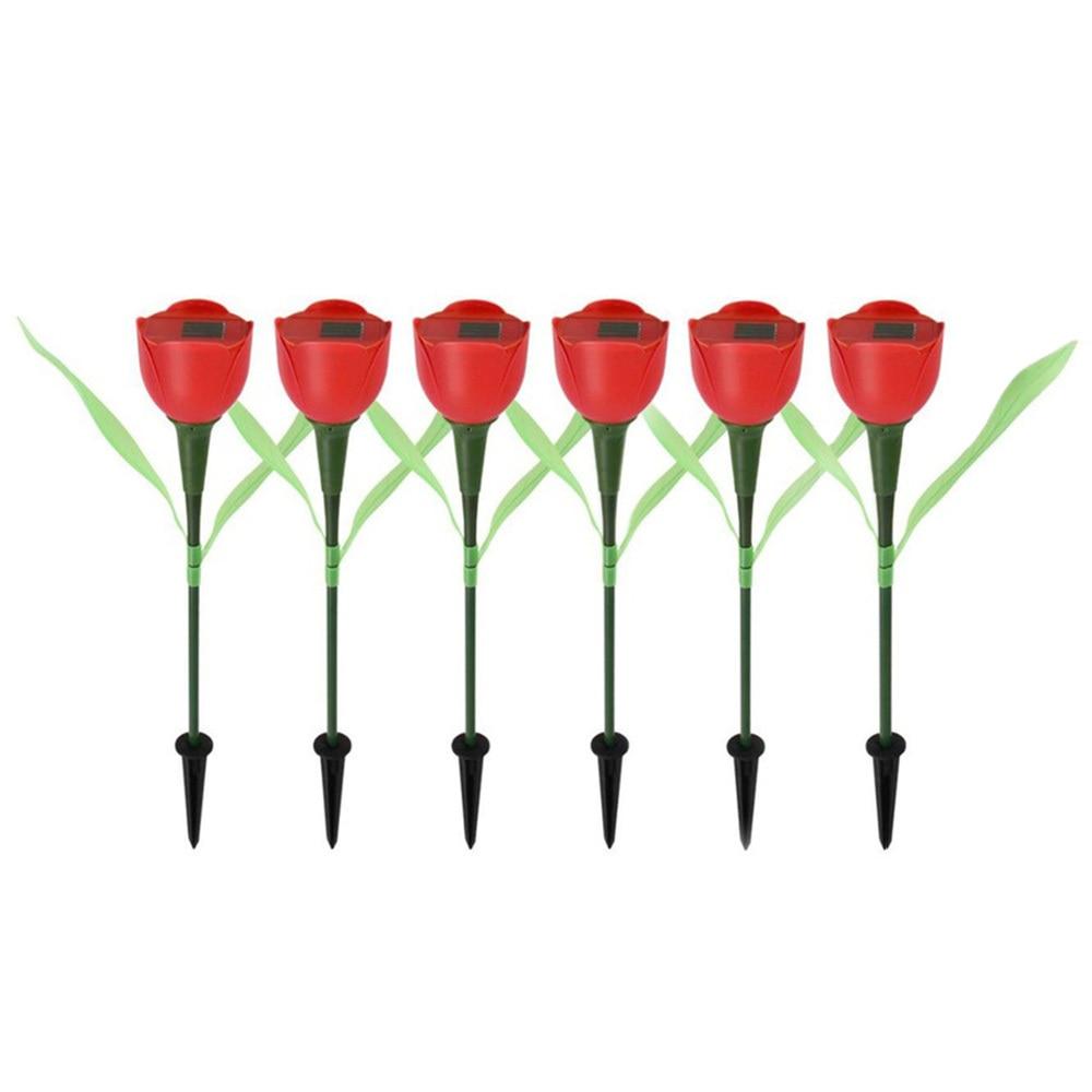 6Pcs/set Energy Solar LED Light Outdoor Garden Light Solar Powered LED Tulip Home Lawn Lamp Landscape Night Flower Lamp