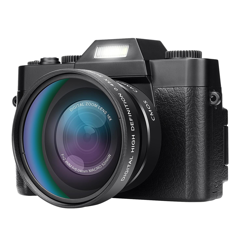 KOMERY Professional Digital Camera 3.0 Inch LCD Flip Screen Video Camera 16X Digital Zoom HD Output Support WiFi Selfie Cam