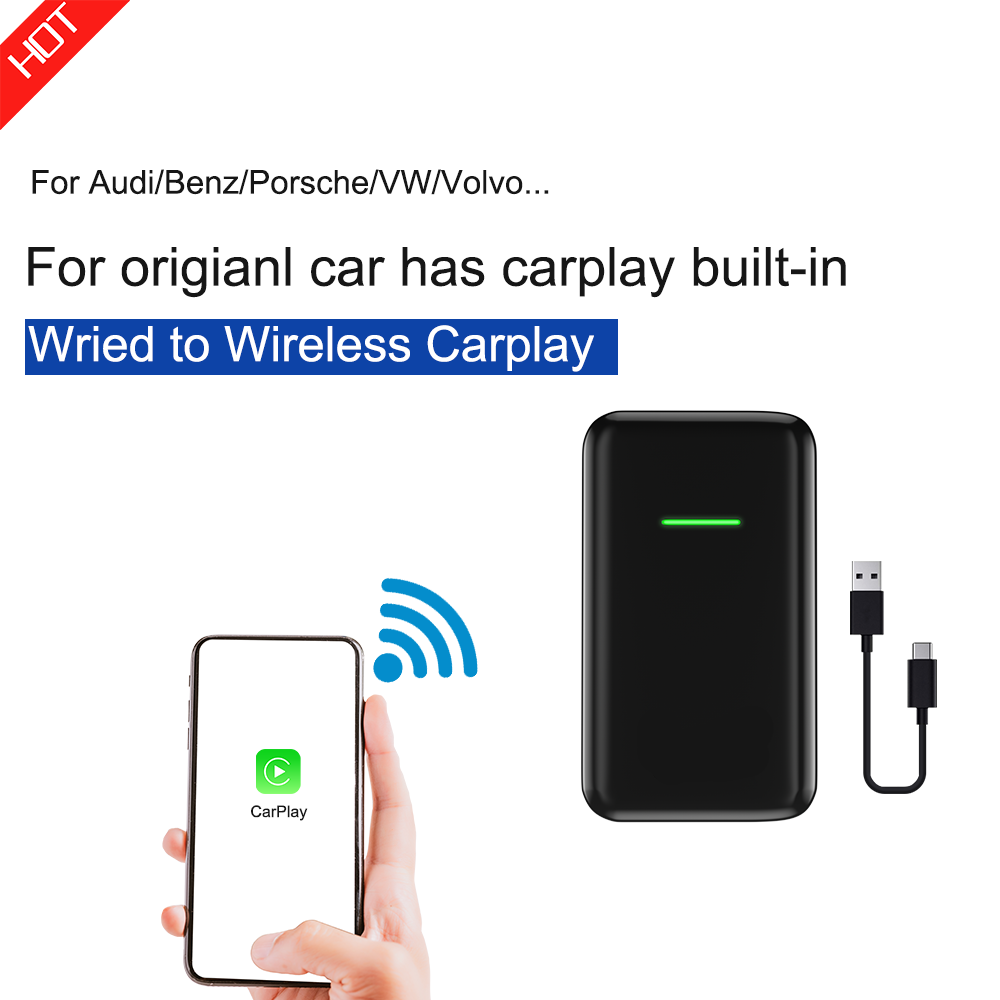 Carlinkit 2.0 Version Wireless Carplay Adapter Dongle For Car Audi VW Original Car Has Wired Carplay Built-in Wired To Wireless