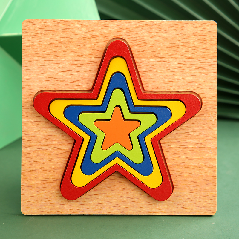 High Quality Colorful 3D Wooden Geometric Shapes Cognition Puzzles Board Math Game Montessori Learning Educational For Kids Toys 7
