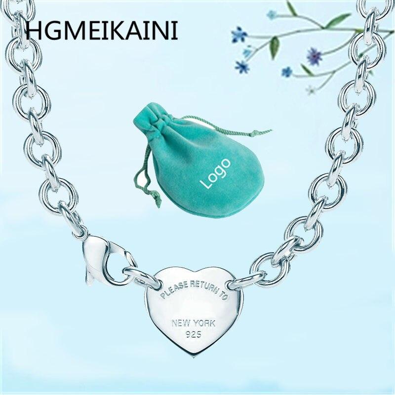 Tiff HGMEIKAINI 925% collier en argent pur 1:1 en Europe et l'original ms pendentif en forme de coeur pendentif bijoux de charme