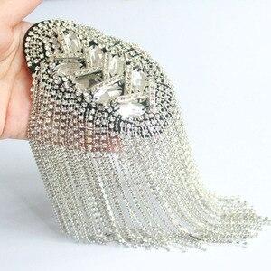 Image 2 - Fashion Handmade Shoulder Jewelry Tassel Rhinestones Epaulettes Clothing Accessories Brooch Epaulet Shoulder Brooches