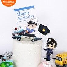 Маленький полицейский мечта тема Топпер для торта «С Днем Рождения» бумага мультфильм торт украшения Дети Мальчики вечерние принадлежности Детские сувениры