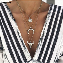 docona Vintage Silver Color Eye Moon Bull Head Multi Layer Necklace for Women Geometric Layered Necklace Collares C18107 bull s eye