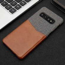 جديد مع بطاقة جيب الهاتف الخلفي كوف لسامسونج غالاكسي S8 S9 S10 زائد الجلود في تصميم قماش ل نوت 8 9 10 Plus