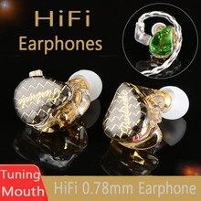 Nova td08 alta fidelidade tuning boca fones de ouvido 0.78 2pin resina personalizado febre iem para qdc huawei dinâmico com fones dj palco
