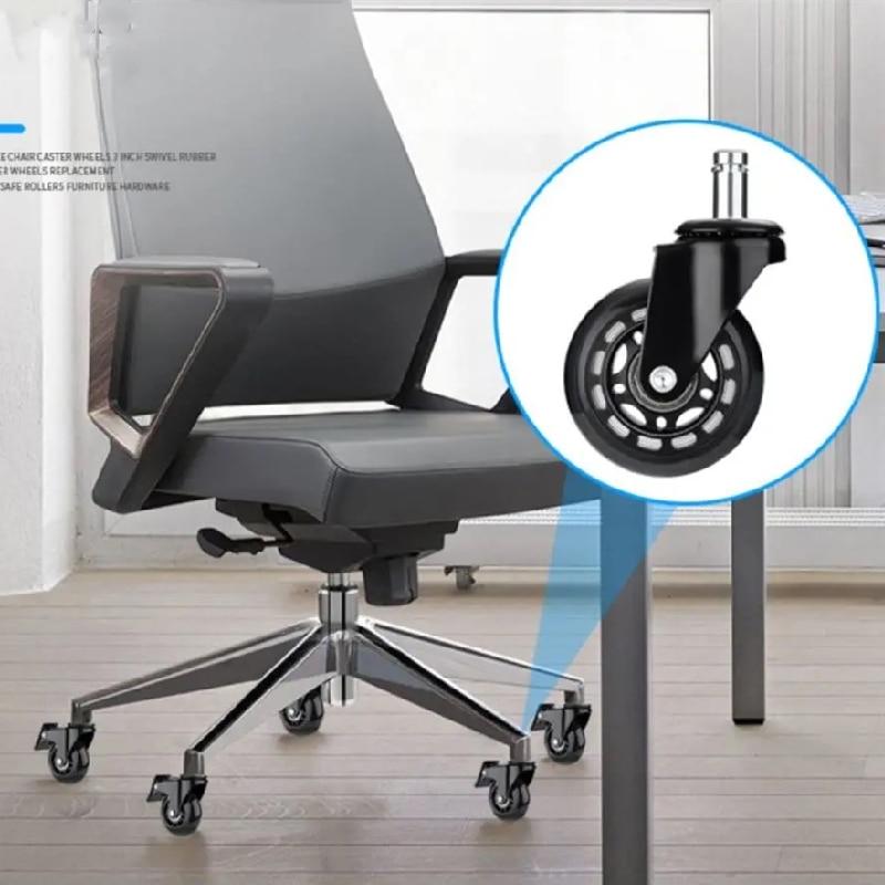 Rodas de cadeira de escritório 5 peças, estilo rollerblade roda castor substituição macio seguro rollers ferragens móveis 2.5 polegadas-3
