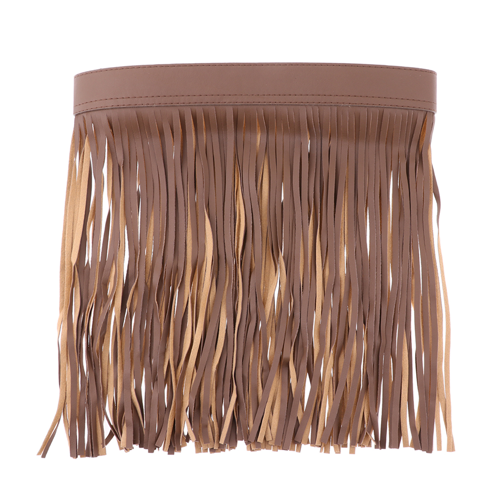 Womens Lady Black Boho Hippie Fringe Tassel PU Leather Mini Belt Skirt 70cm UK