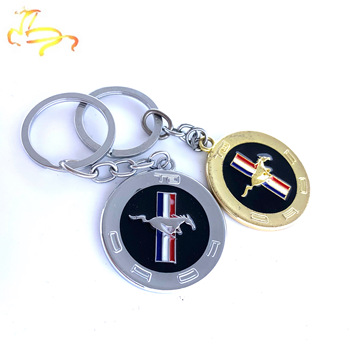 3D Metal Emblem Badge KeyChain Keyring Key Chain FOB Ring for Mustang GT 500 Cobra Shelby Car Styling image