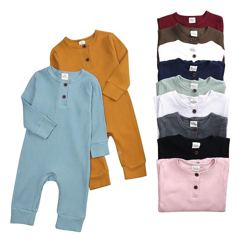 Baby-Body Long Sleeve Gestrickte Rippen Baby Kleidung Mädchen Strampler Solid Farbe Kleinkind Romper Infant Kleidung 0-24 monate