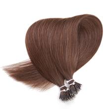 BILY Black Brown Machine Remy Nano Ring Hair Extensions 100% Real Human Hair Straight 20