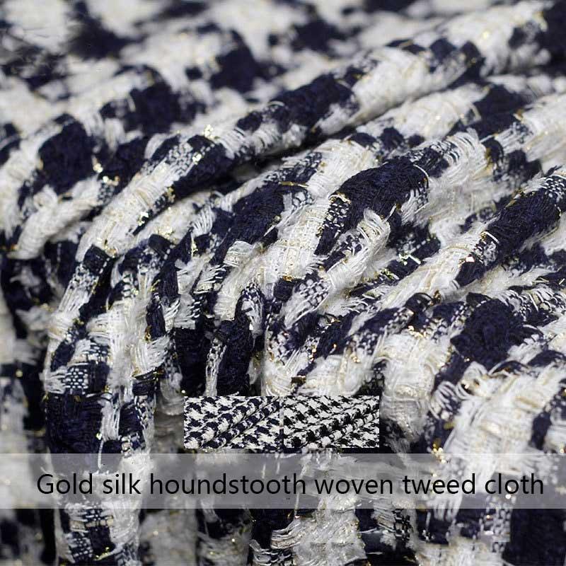 Nouveaux produits doré pied-de-poule tissé petit tissu de Tweed parfumé printemps et automne femmes manteau vêtements tissu personnalisé
