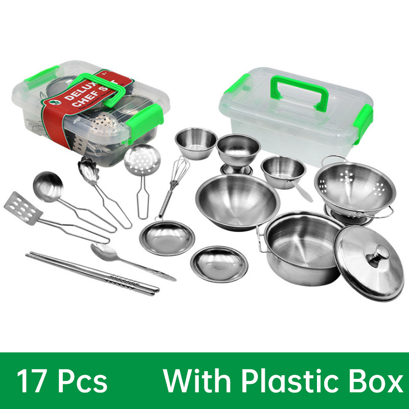 New 16Pcs Stainless Steel Children Kitchen Toys Cooking Set Simulation Tableware Toy Pretend Play Toy Food Set Kid Gift D204