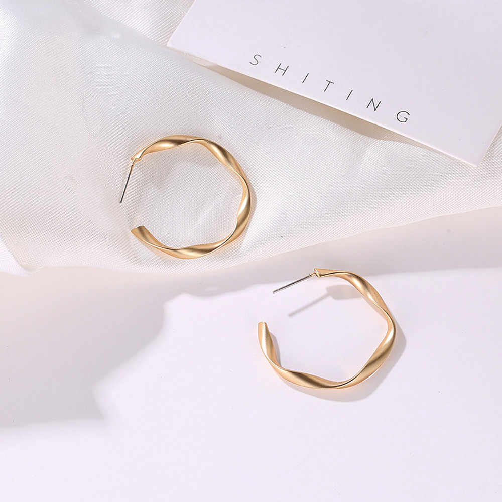 Earrings Hiphop Gold Alloy Punk Rock Minimalist GeometricDistortion Gold Alloy Round Circle Hoop Earrings Simple For Women