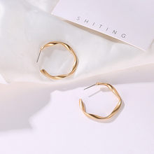 Earrings Hiphop Gold Alloy Punk Rock Minimalist GeometricDistortion Gold Alloy Round Circle Hoop Earrings Simple For Women(China)