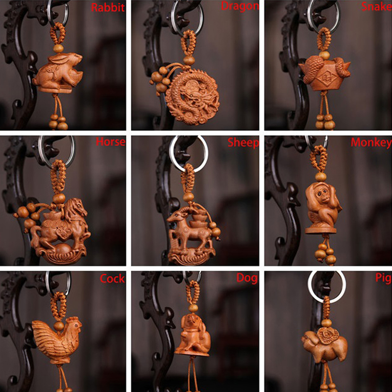 1pcs Unisex  12 Zodiac Keychain Natural Wood Keyring Animal Dragon Tiger Sheep Rabbit Monkey Snake Keyring Gift For Kids