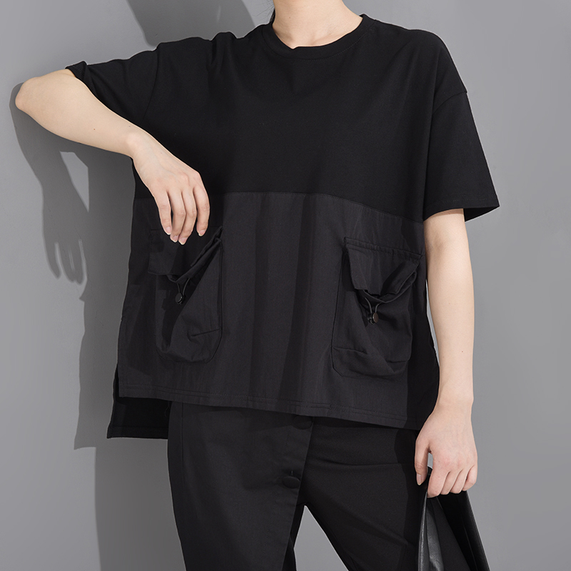[EAM] Women Black Pocket Irregular Split Big Size T-shirt New Round Neck Short Sleeve  Fashion Tide  Spring Summer 2020 1T70601 4
