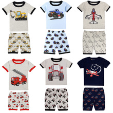 Pajamas-Sets Excavator-Printing-Pajamas Boys Children Summer Infantil for 2-8yrs Rooter