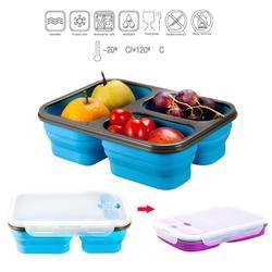 Silikonowe składane zagęszczane pudełko na lunch trzy siatki pudełko na lunch pudełko na lunch z pojemnik na sztućce na piknik pracownicy biurowi szkoła