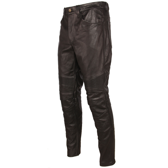 Fashion Vintage Black Men Leather Pant Thick 100% Natural Cowhide Motorcycle Biker Trousers Moto Pants Protector Available M350 5