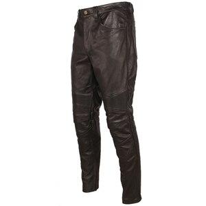 Image 5 - Pantalón de cuero negro Vintage para hombre, pantalón grueso para motorista, 100% Piel de vaca Natural, pantalones estilo motero Protector, M350