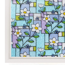Stained Glass Window Film Color Flower Pattern Privacy Decorative No Glue Anti-UV Self-adhesive Sticker