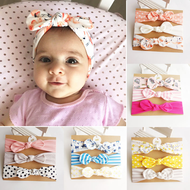 3Pcs Rabbit Ear Baby Headband For Girls Flower Neonata Baby Bows Turban Haarband Hair
