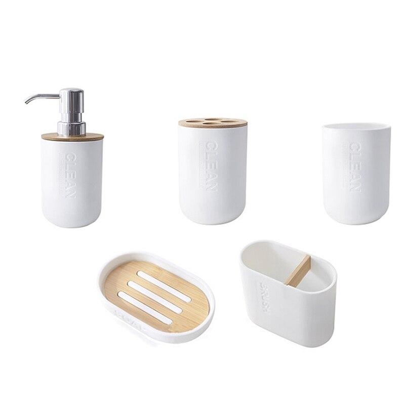 Ev ve Bahçe'ten Saklama Rafları ve Raflar'de 5 adet bambu banyo seti tuvalet fırçası tutucu diş fırçası cam bardak sabunluk sabunluk banyo aksesuarları title=