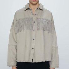 2020 Spring Summer European cotton tassel zaraing women Jeans jacket Coat sheini