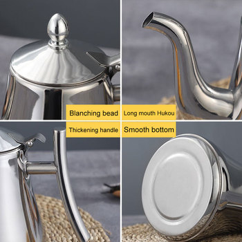 1/1.5/2L Tea Pot With Filter Gold Thicker Hotel Coffee Pot Restaurant Induction Cooker Tea Kettle Stainless Steel Water Kettle 6