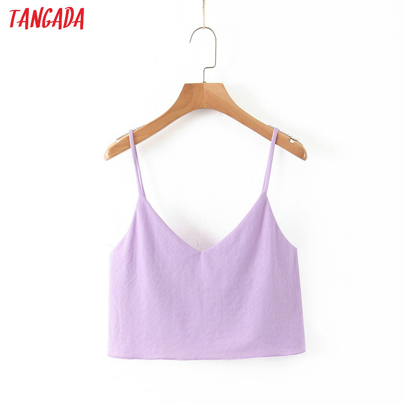 Tangada Women Purple Tops Sexy V-neck Tanks Strappy Backless Camisole Short Tops 2020 Summer Camis SL88