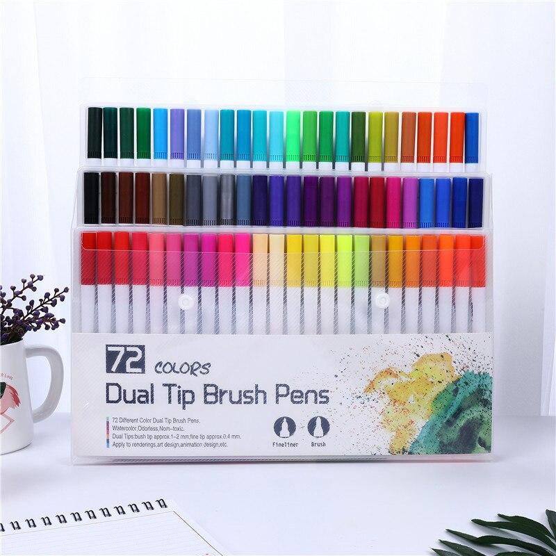 Fineliner 12/48/72/100/120 cores ponta dupla escova arte marcadores caneta profissão aquarela canetas para desenho caligrafia arte suprimentos