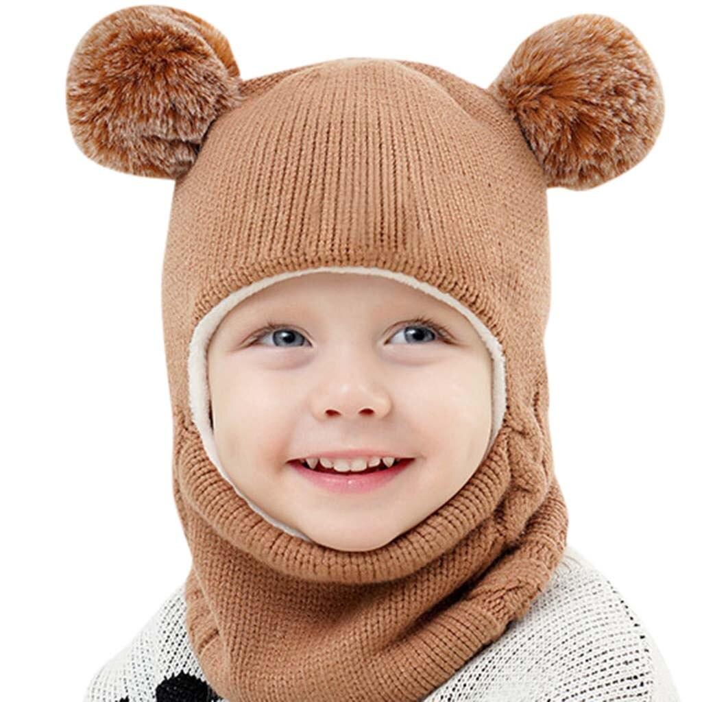 2019 Kids Winter Hats Ears Girls Boys Children Warm Caps Scarf Set Baby Bonnet Knitted Cute Christmas Hat For Girl Boy Dropship