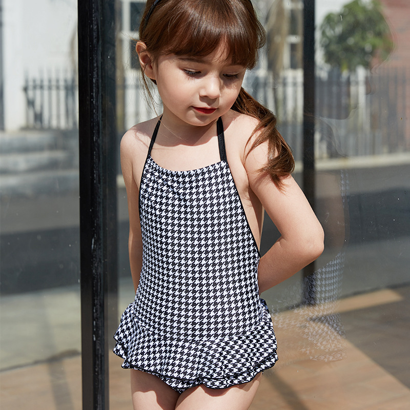 Girl'S Swimsuit One-piece Cute Children Sun-resistant Boxer Swim Bathing Suit Big Boy Baby Korean-style Princess Dress-Swimwear