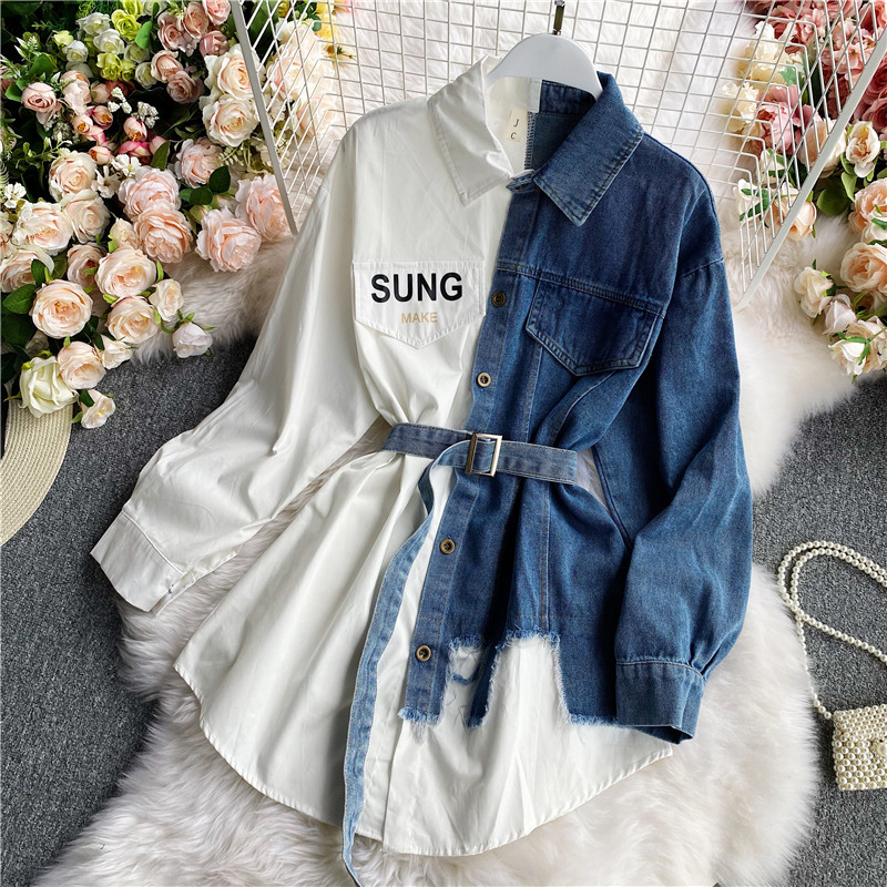 Women's Blouse 2020 Autumn Long Sleeve Shirt Tops Jeans Patchwork Plaid Blouses Elegantes Blusas para mujer Slim Shirt Dress 2