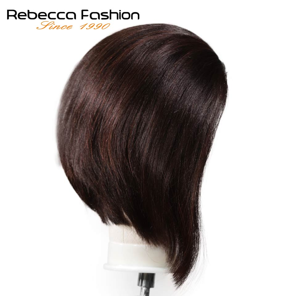 Rebecca Peruvian 4x4 Lace Front Human Hair Wigs For Women Remy Straight Hair Short Bob Wig Blonde Brown 99J Colors Free Shipping